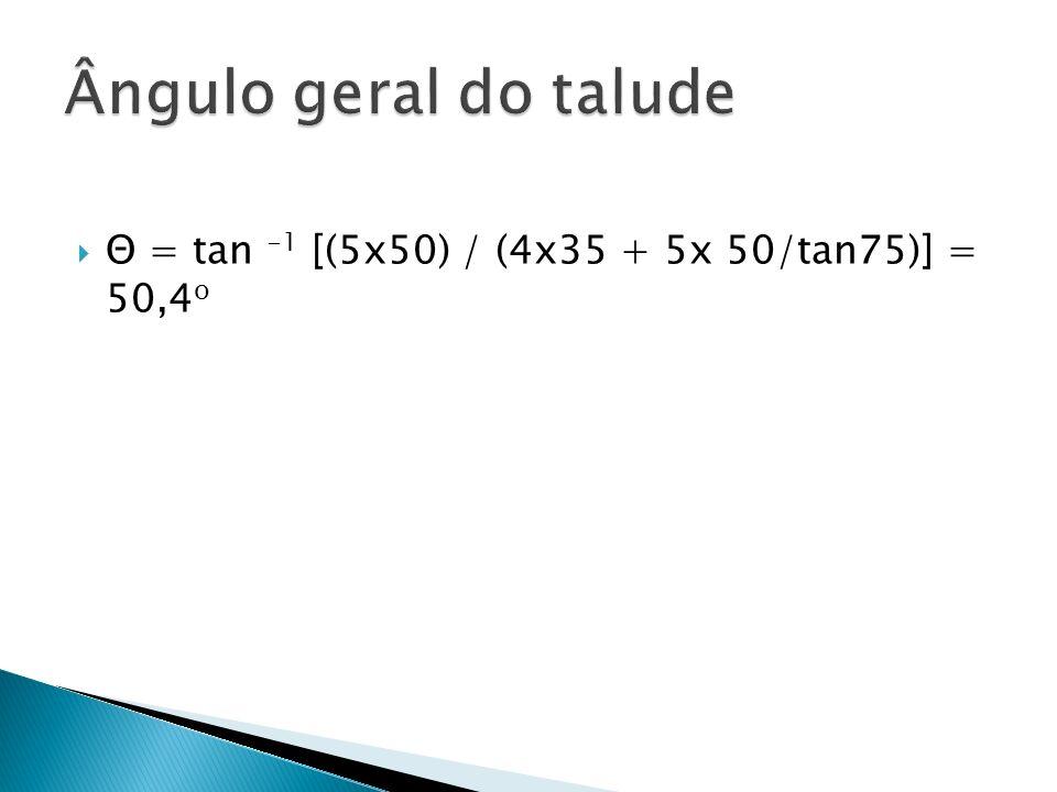 Ângulo geral do talude Θ = tan -1 [(5x50) / (4x35 + 5x 50/tan75)] = 50,4o